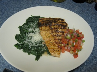 Salsa Salmon with Wilted Spinach - Food, Fun, Whatever !!